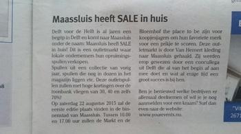 Maassluis heeft SALE in huis 2015 KRANT BERICHT 17-8-2015 2